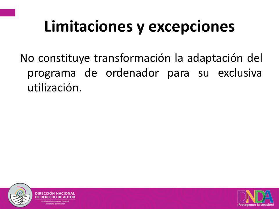 Limitaciones y excepciones No constituye transformación la adaptación del programa de ordenador para su exclusiva utilización.