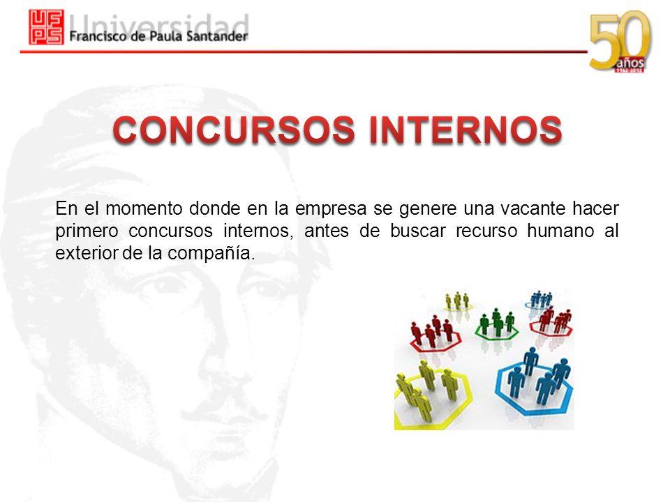En el momento donde en la empresa se genere una vacante hacer primero concursos internos, antes de buscar recurso humano al exterior de la compañía.