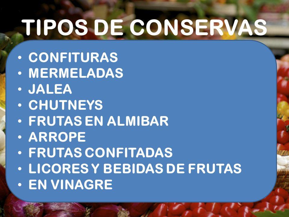 TIPOS DE CONSERVAS CONFITURAS MERMELADAS JALEA CHUTNEYS FRUTAS EN ALMIBAR ARROPE FRUTAS CONFITADAS LICORES Y BEBIDAS DE FRUTAS EN VINAGRE