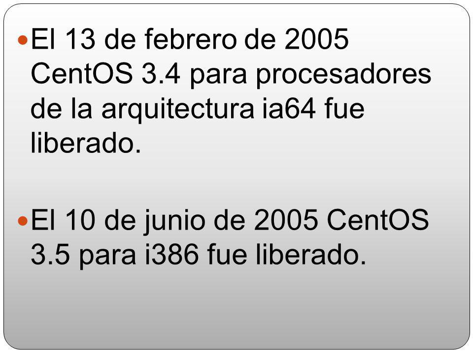 El 18 de septiembre de 2004 CentOS 3.3 fue liberado para las arquitecturas i386 y AMD64 El 10 de enero de 2005 CentOS 3.4 para i386,fue oficialmente l