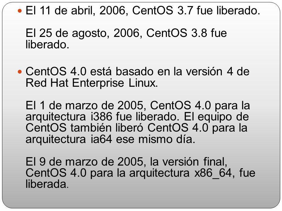 Sobre el 13 de octubre, 2005, CentOS 3.6 fue liberado. Diferente a las otras versiones, éste no fue anunciado en las listas de correo de CentOS.