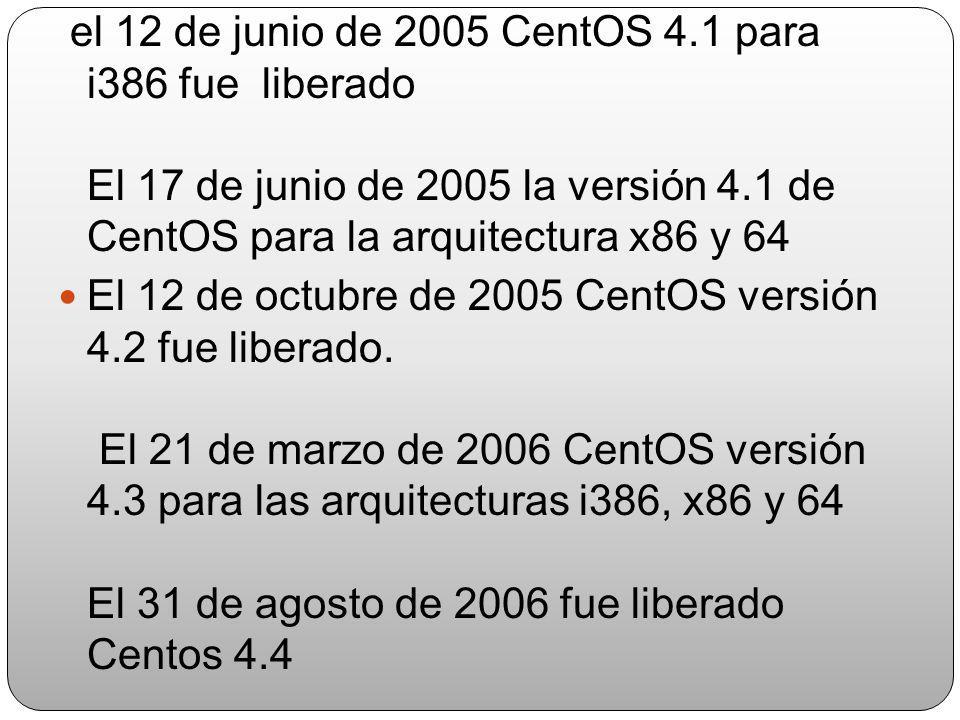 El 11 de abril, 2006, CentOS 3.7 fue liberado. El 25 de agosto, 2006, CentOS 3.8 fue liberado. CentOS 4.0 está basado en la versión 4 de Red Hat Enter