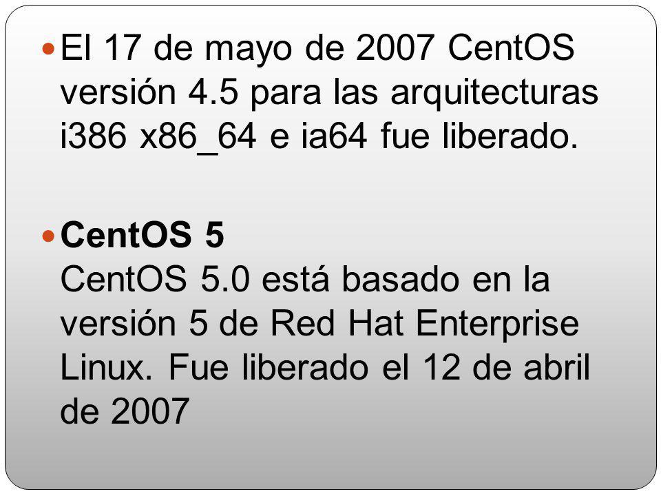 el 12 de junio de 2005 CentOS 4.1 para i386 fue liberado El 17 de junio de 2005 la versión 4.1 de CentOS para la arquitectura x86 y 64 El 12 de octubr