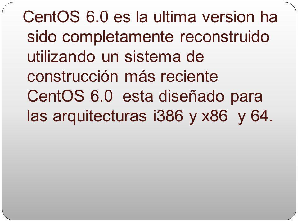 El 17 de mayo de 2007 CentOS versión 4.5 para las arquitecturas i386 x86_64 e ia64 fue liberado. CentOS 5 CentOS 5.0 está basado en la versión 5 de Re