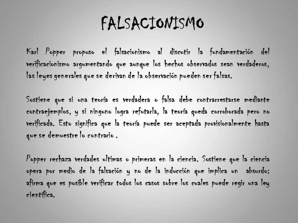 FALSACIONISMO Karl Popper propuso el falsacionismo al discutir la fundamentación del verificacionismo argumentando que aunque los hechos observados sean verdaderos, las leyes generales que se derivan de la observación pueden ser falsas.