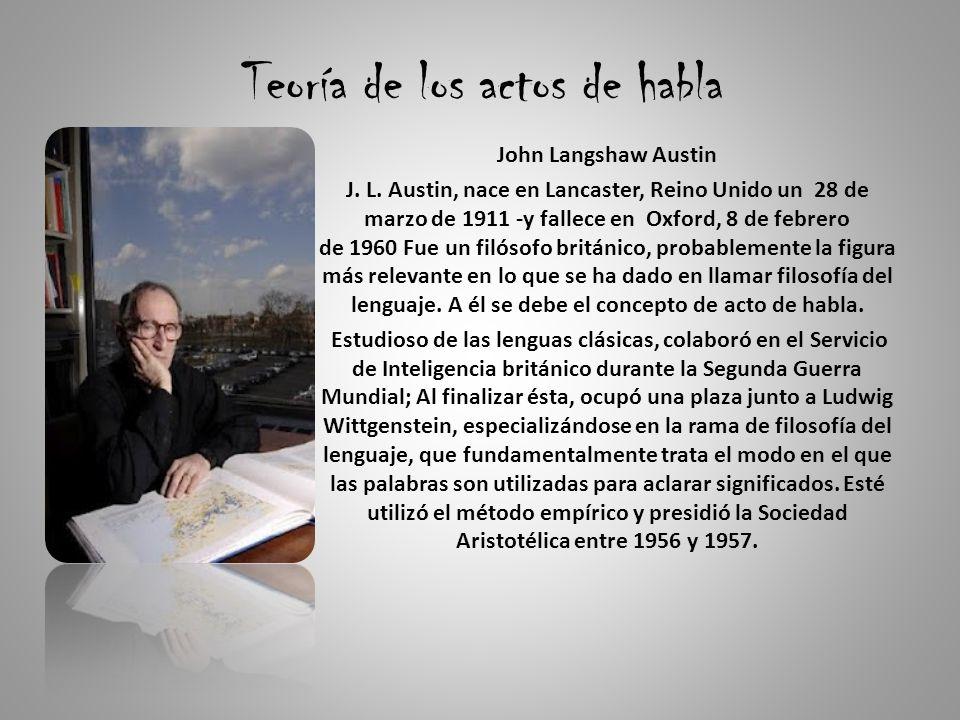 Teoría de los actos de habla John Langshaw Austin J.