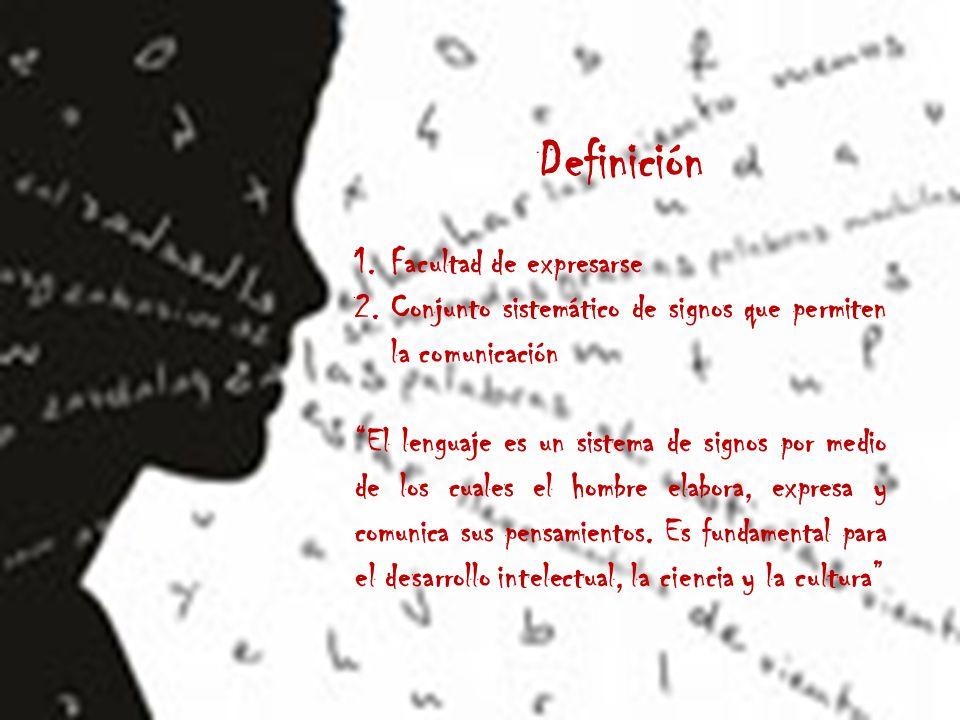 Definición 1.Facultad de expresarse 2.Conjunto sistemático de signos que permiten la comunicación El lenguaje es un sistema de signos por medio de los cuales el hombre elabora, expresa y comunica sus pensamientos.