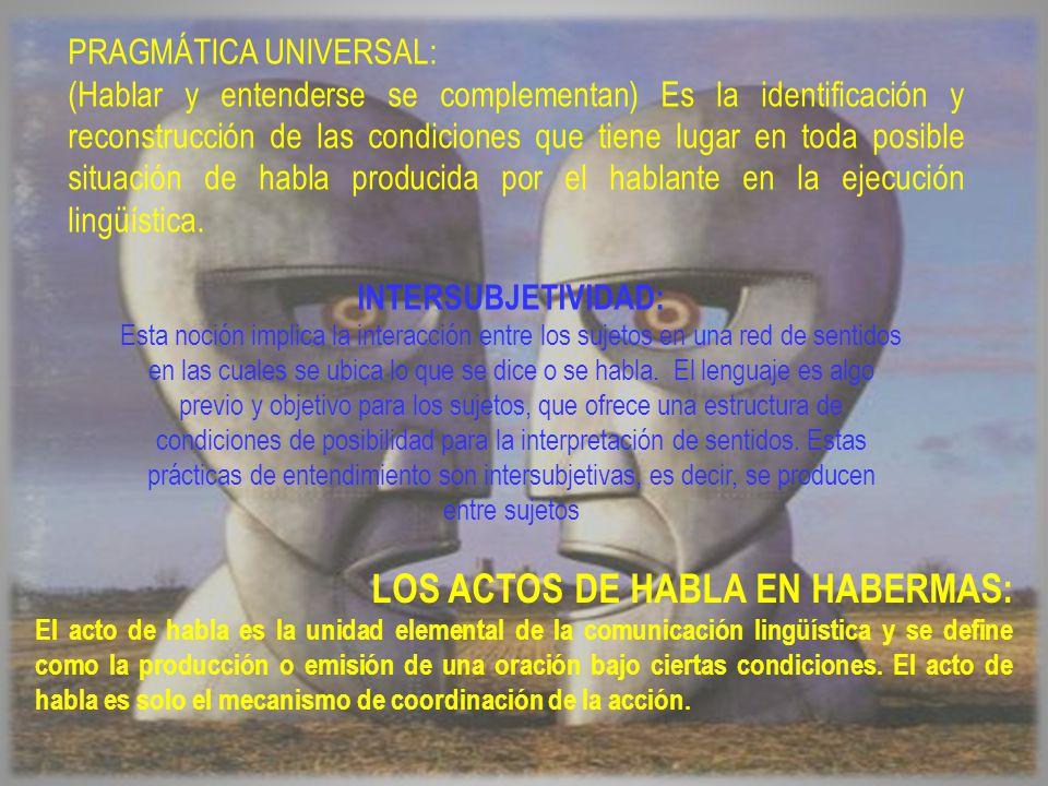 PRAGMÁTICA UNIVERSAL: (Hablar y entenderse se complementan) Es la identificación y reconstrucción de las condiciones que tiene lugar en toda posible situación de habla producida por el hablante en la ejecución lingüística.