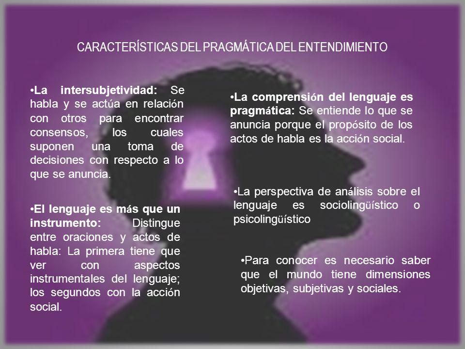 CARACTERÍSTICAS DEL PRAGMÁTICA DEL ENTENDIMIENTO La intersubjetividad: Se habla y se act ú a en relaci ó n con otros para encontrar consensos, los cuales suponen una toma de decisiones con respecto a lo que se anuncia.
