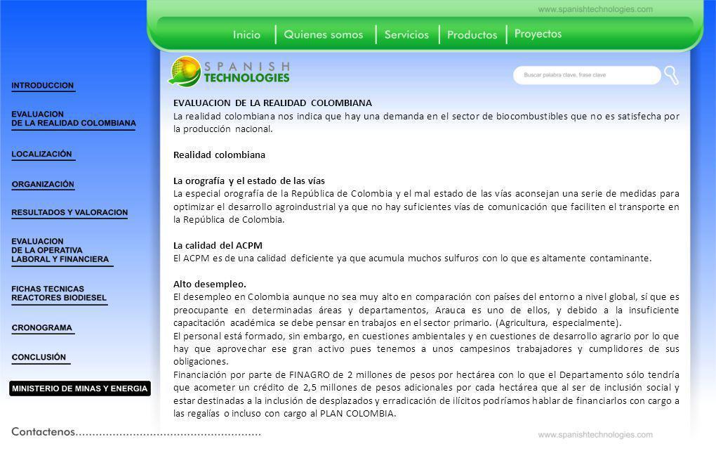 EVALUACION DE LA REALIDAD COLOMBIANA La realidad colombiana nos indica que hay una demanda en el sector de biocombustibles que no es satisfecha por la