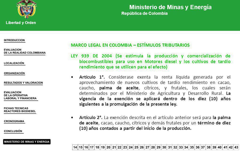 MARCO LEGAL EN COLOMBIA – ESTÍMULOS TRIBUTARIOS LEY 939 DE 2004 (Se estimula la producción y comercialización de biocombustibles para uso en Motores d