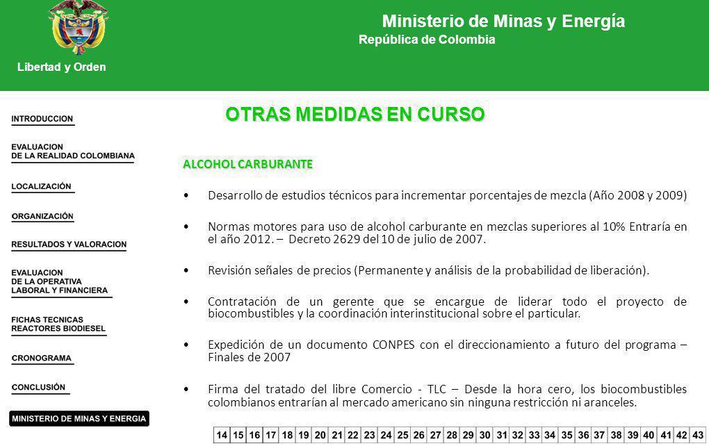 OTRAS MEDIDAS EN CURSO ALCOHOL CARBURANTE Desarrollo de estudios técnicos para incrementar porcentajes de mezcla (Año 2008 y 2009) Normas motores para