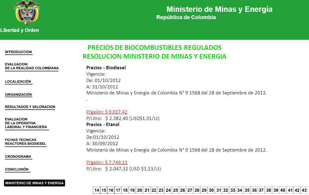 Ministerio de Minas y Energía República de Colombia Libertad y Orden PRECIOS DE BIOCOMBUSTIBLES REGULADOS RESOLUCION MINISTERIO DE MINAS Y ENERGIA Pre