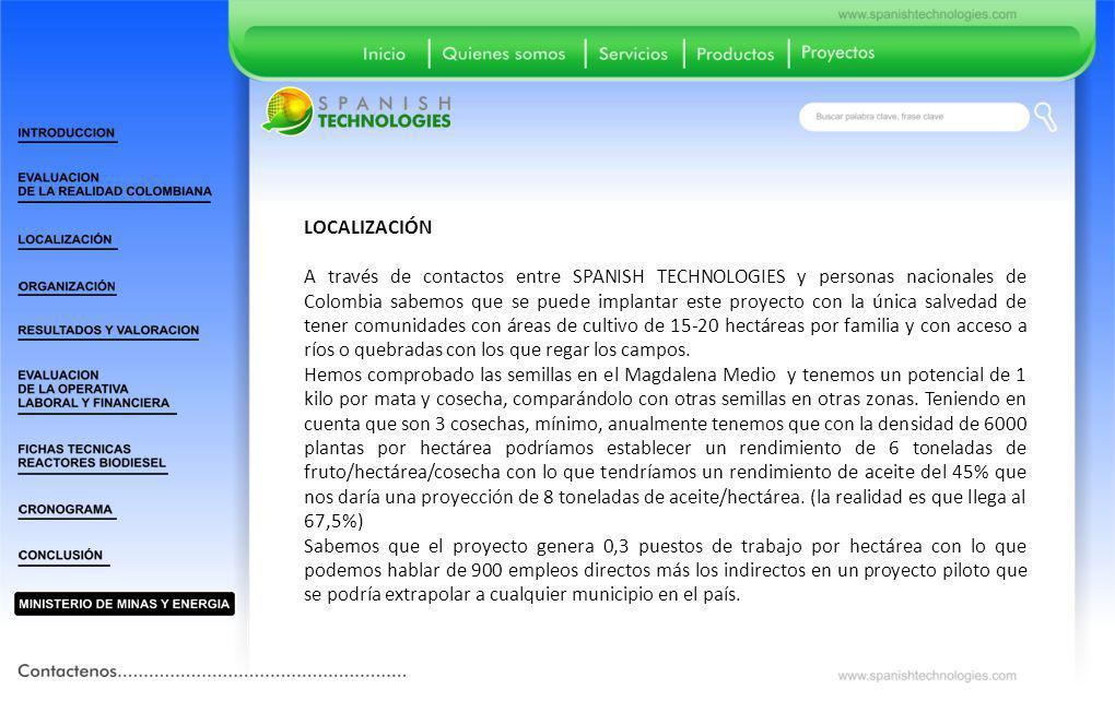 LOCALIZACIÓN A través de contactos entre SPANISH TECHNOLOGIES y personas nacionales de Colombia sabemos que se puede implantar este proyecto con la ún