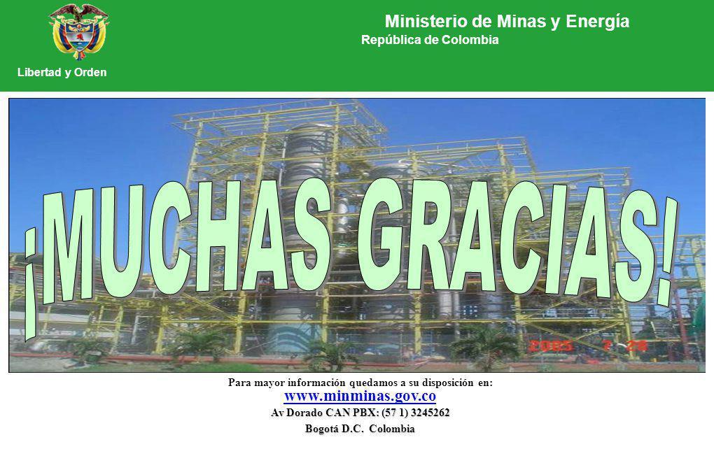 Para mayor información quedamos a su disposición en: www.minminas.gov.co Av Dorado CAN PBX: (57 1) 3245262 Bogotá D.C. Colombia Ministerio de Minas y