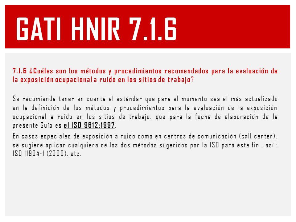 7.1.6 ¿Cuáles son los métodos y procedimientos recomendados para la evaluación de la exposición ocupacional a ruido en los sitios de trabajo .