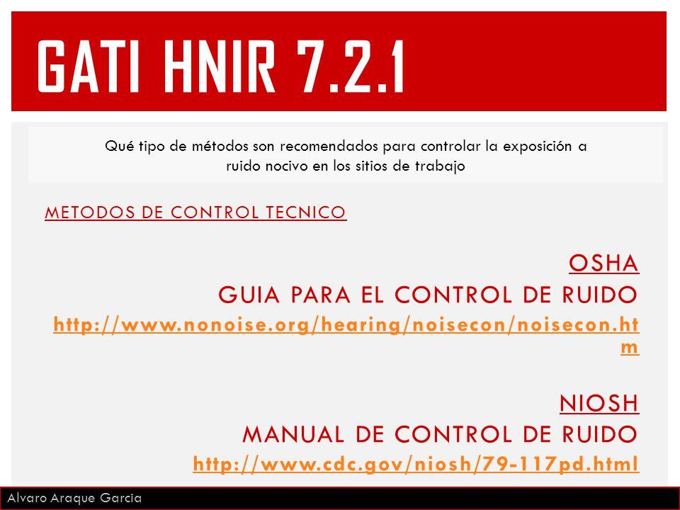 METODOS DE CONTROL TECNICO OSHA GUIA PARA EL CONTROL DE RUIDO http://www.nonoise.org/hearing/noisecon/noisecon.ht m NIOSH MANUAL DE CONTROL DE RUIDO http://www.cdc.gov/niosh/79-117pd.html Qué tipo de métodos son recomendados para controlar la exposición a ruido nocivo en los sitios de trabajo Alvaro Araque Garcia GATI HNIR 7.2.1