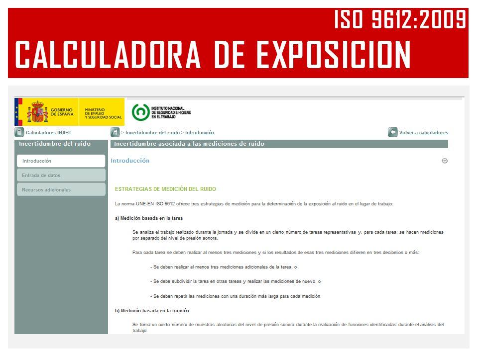 CALCULADORA DE EXPOSICION ISO 9612:2009