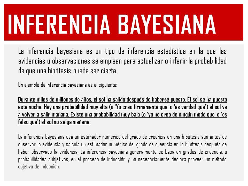 INFERENCIA BAYESIANA La inferencia bayesiana es un tipo de inferencia estadística en la que las evidencias u observaciones se emplean para actualizar o inferir la probabilidad de que una hipótesis pueda ser cierta.