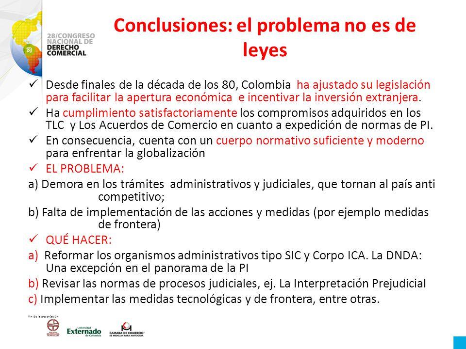 Conclusiones: el problema no es de leyes Desde finales de la década de los 80, Colombia ha ajustado su legislación para facilitar la apertura económic