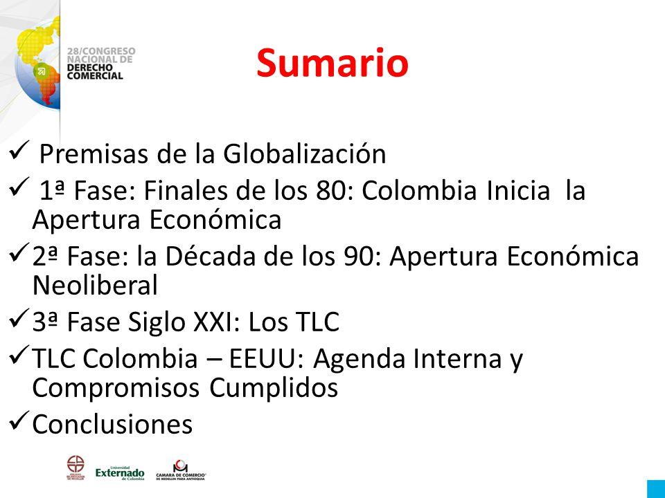 Sumario Premisas de la Globalización 1ª Fase: Finales de los 80: Colombia Inicia la Apertura Económica 2ª Fase: la Década de los 90: Apertura Económic