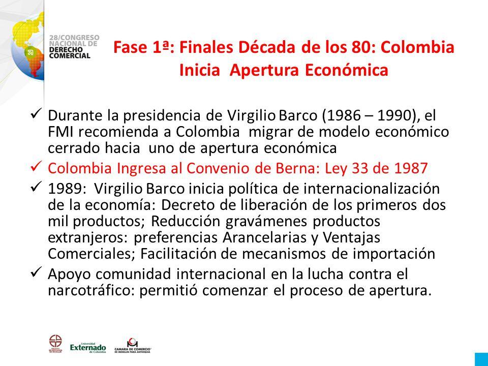Fase 1ª: Finales Década de los 80: Colombia Inicia Apertura Económica Durante la presidencia de Virgilio Barco (1986 – 1990), el FMI recomienda a Colo