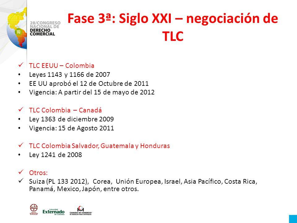 Fase 3ª: Siglo XXI – negociación de TLC TLC EEUU – Colombia Leyes 1143 y 1166 de 2007 EE UU aprobó el 12 de Octubre de 2011 Vigencia: A partir del 15