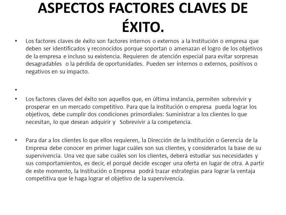 ASPECTOS FACTORES CLAVES DE ÉXITO. Los factores claves de éxito son factores internos o externos a la Institución o empresa que deben ser identificado
