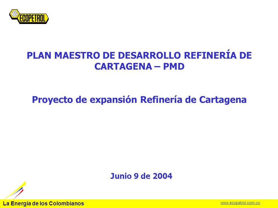 La Energía de los Colombianos www.ecopetrol.com.co MEDIOS COMBUSTOLEO GLP Y GASOLINAS ACPM.- Jet A- Keroseno 40.6 % 31.4 % 28.0 % 46.4 % 38.3 % 18.7 % Actual(CON PMD) 100.0 % RENDIMIENTO DE LÍQUIDOS 103.4 % (% RESPECTO A LA CARGA DE CRUDO) CRUDO 140 kBD CONVERSIÓN (RPB) 72.O% CONVERSIÓN (RPB) 84.7% Mejora de Rendimientos