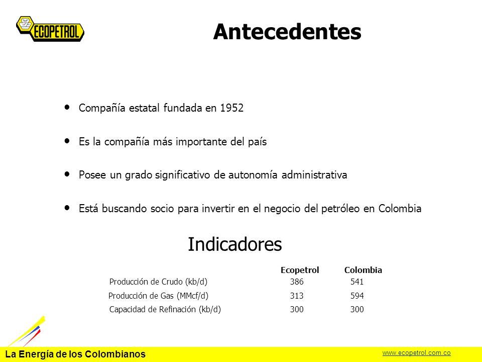 La Energía de los Colombianos www.ecopetrol.com.co Refinería de Cartagena capacidad: 75,000 barriles por día.