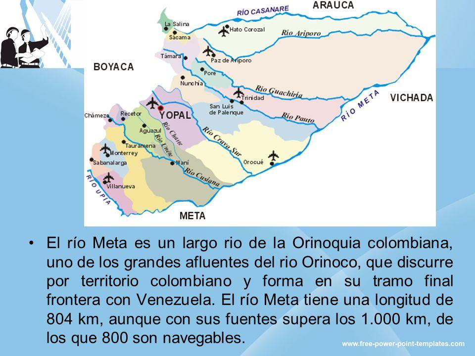 El río Meta es un largo rio de la Orinoquia colombiana, uno de los grandes afluentes del rio Orinoco, que discurre por territorio colombiano y forma e