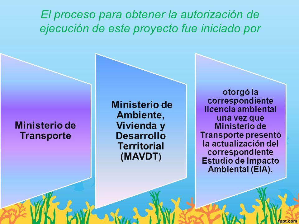 El proceso para obtener la autorización de ejecución de este proyecto fue iniciado por Ministerio de Transporte Ministerio de Ambiente, Vivienda y Des