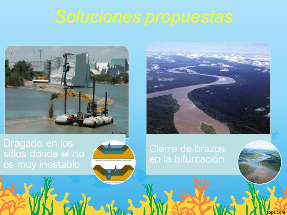 Soluciones propuestas Dragado en los sitios donde el río es muy inestable Cierre de brazos en la bifurcación