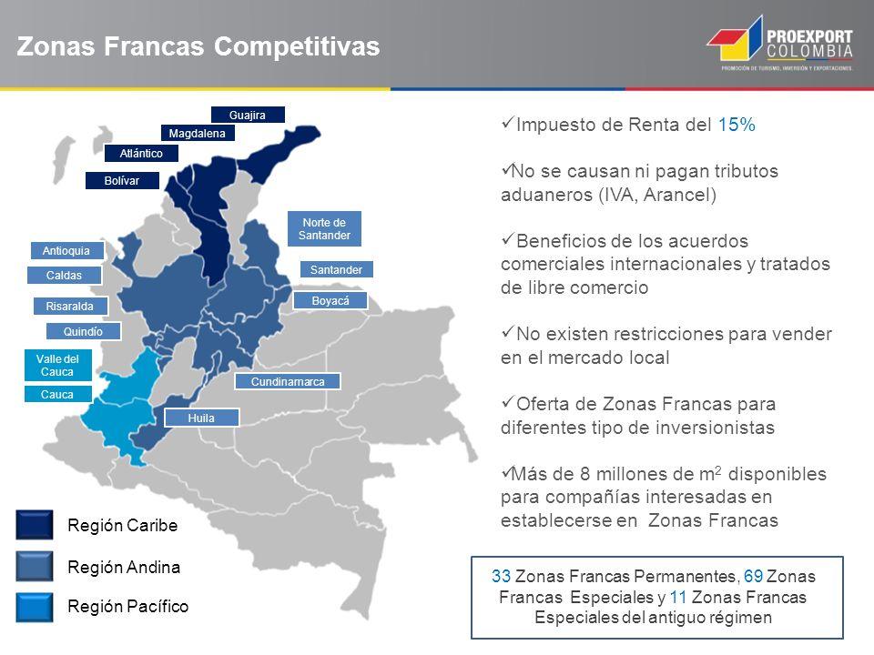 Zonas Francas Competitivas Guajira Magdalena Atlántico Bolívar Valle del Cauca Cauca Norte de Santander Santander Boyacá Cundinamarca Huila Antioquia