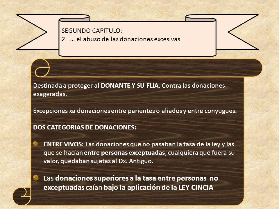 Destinada a proteger al DONANTE Y SU FLIA.Contra las donaciones exageradas.