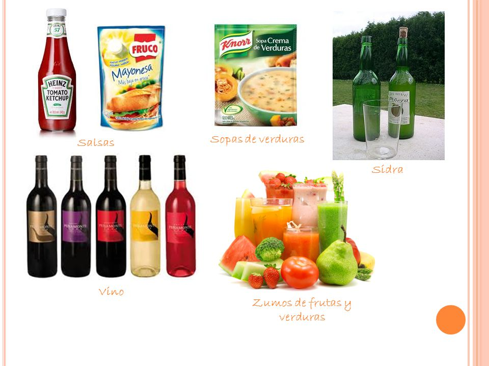 Salsas Sopas de verduras Sidra Vino Zumos de frutas y verduras