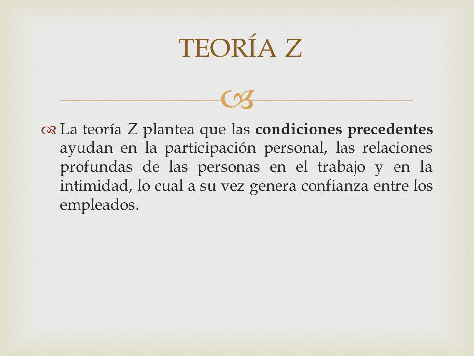 La teoría Z plantea que las condiciones precedentes ayudan en la participación personal, las relaciones profundas de las personas en el trabajo y en l