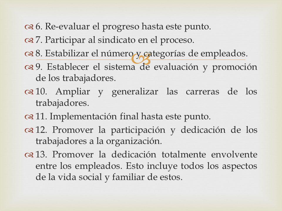 6. Re-evaluar el progreso hasta este punto. 7. Participar al sindicato en el proceso. 8. Estabilizar el número y categorías de empleados. 9. Establece