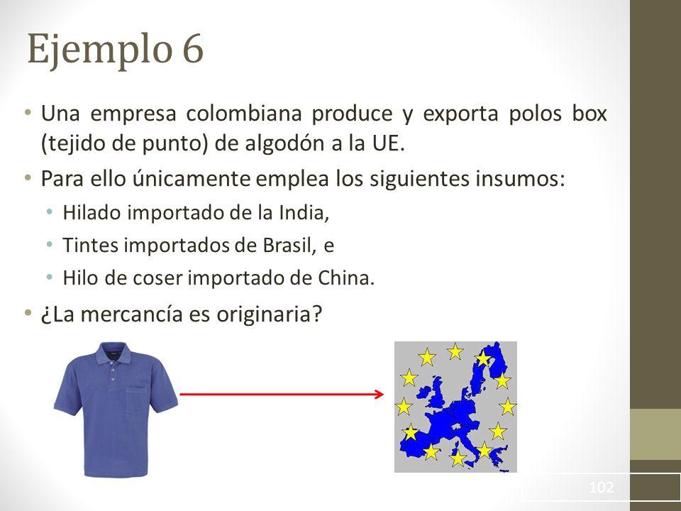 Una empresa colombiana produce y exporta polos box (tejido de punto) de algodón a la UE.