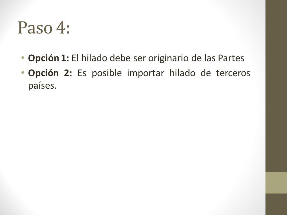 Paso 4: Opción 1: El hilado debe ser originario de las Partes Opción 2: Es posible importar hilado de terceros países.
