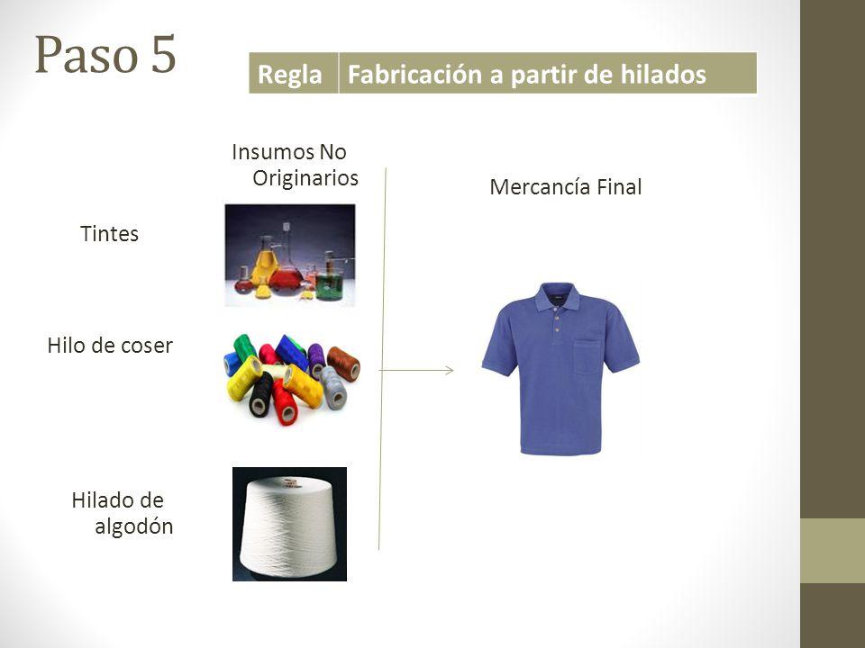 Tintes Hilo de coser Hilado de algodón Insumos No Originarios Mercancía Final ReglaFabricación a partir de hilados Paso 5