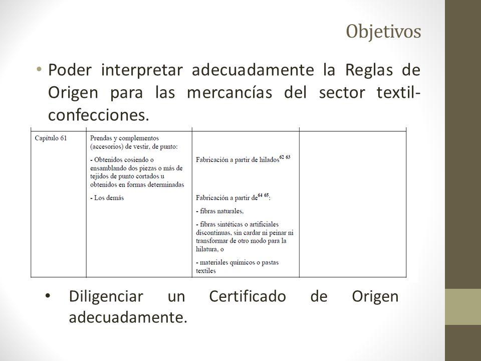 Objetivos Poder interpretar adecuadamente la Reglas de Origen para las mercancías del sector textil- confecciones.