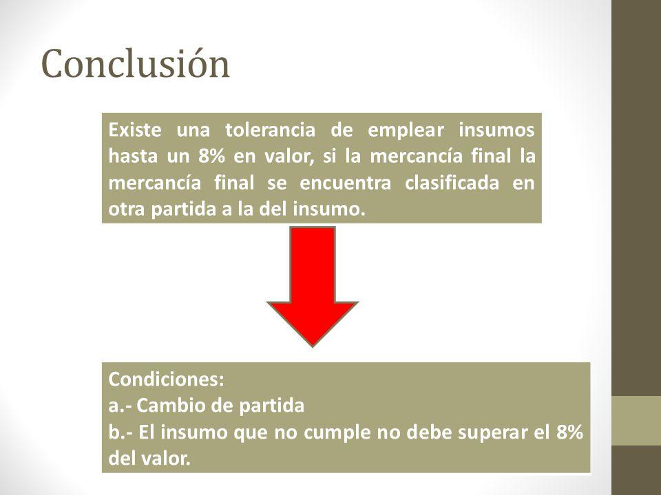 Conclusión Existe una tolerancia de emplear insumos hasta un 8% en valor, si la mercancía final la mercancía final se encuentra clasificada en otra partida a la del insumo.