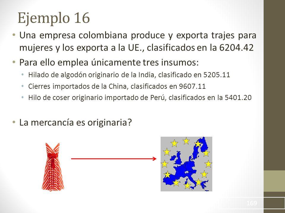 Una empresa colombiana produce y exporta trajes para mujeres y los exporta a la UE., clasificados en la 6204.42 Para ello emplea únicamente tres insumos: Hilado de algodón originario de la India, clasificado en 5205.11 Cierres importados de la China, clasificados en 9607.11 Hilo de coser originario importado de Perú, clasificados en la 5401.20 La mercancía es originaria.