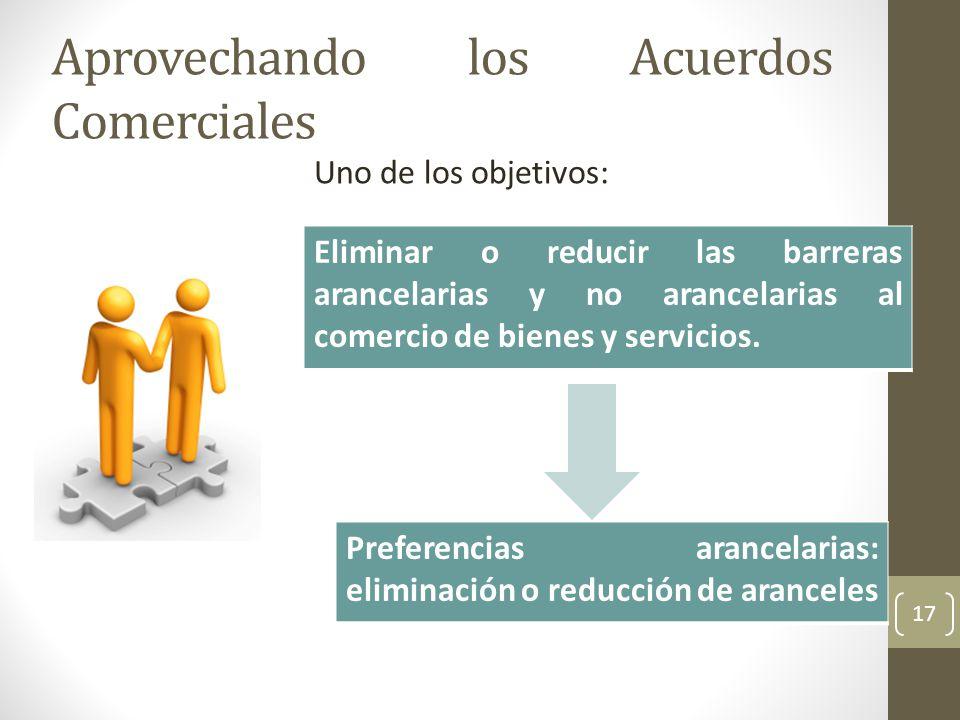 Aprovechando los Acuerdos Comerciales 17 Eliminar o reducir las barreras arancelarias y no arancelarias al comercio de bienes y servicios.