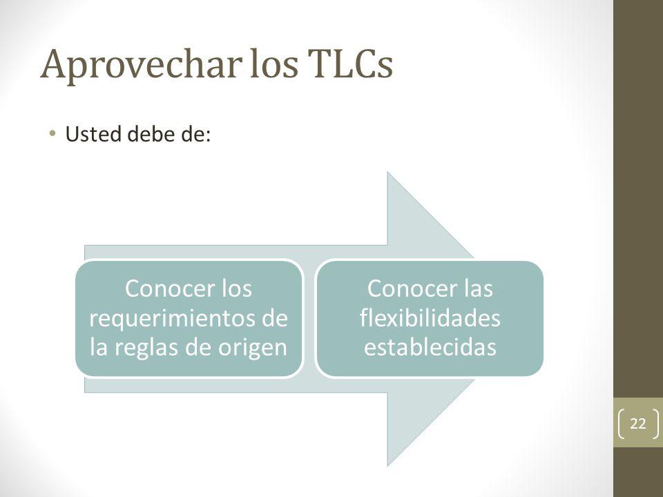 Aprovechar los TLCs Usted debe de: 22 Conocer los requerimientos de la reglas de origen Conocer las flexibilidades establecidas