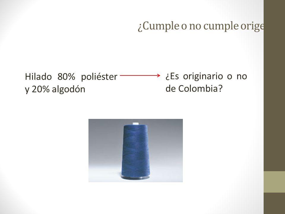 Ejemplo 13 Una empresa colombiana produce y exporta hilados de algodón mezclados con seda (90% algodón y 10% seda) a la UE.