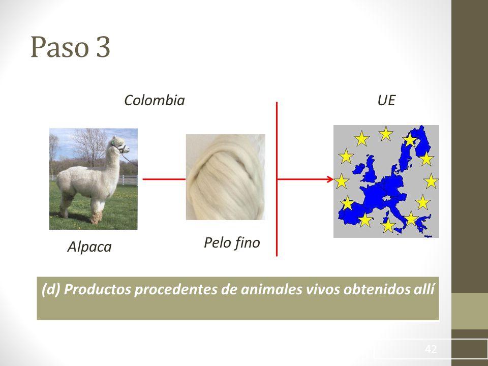 42 ColombiaUE (d) Productos procedentes de animales vivos obtenidos allí Pelo fino Alpaca Paso 3