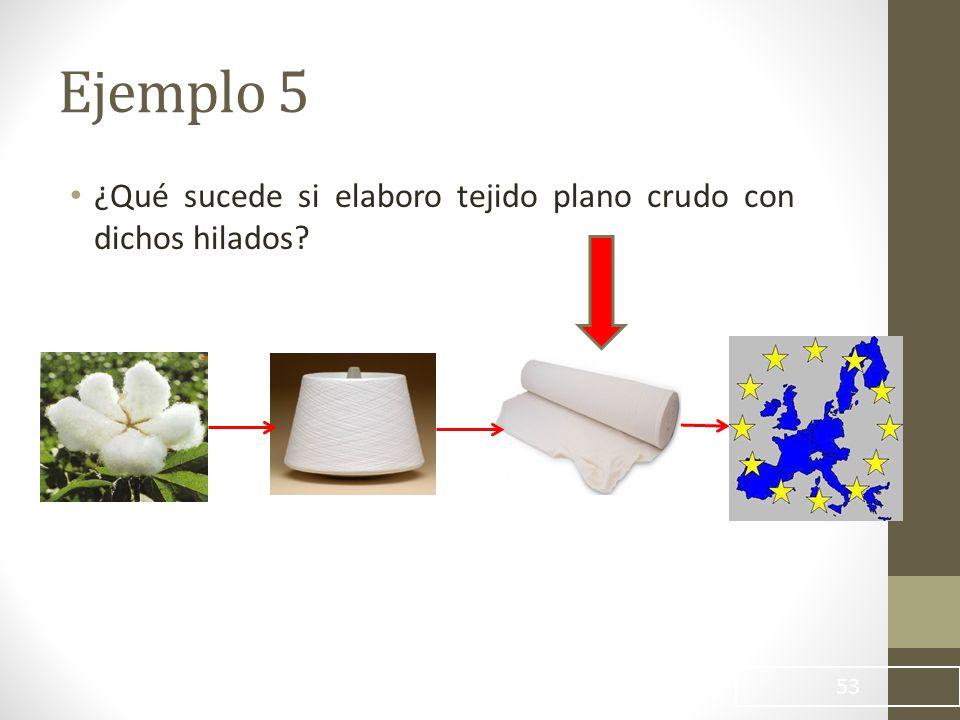 53 ¿Qué sucede si elaboro tejido plano crudo con dichos hilados? Ejemplo 5