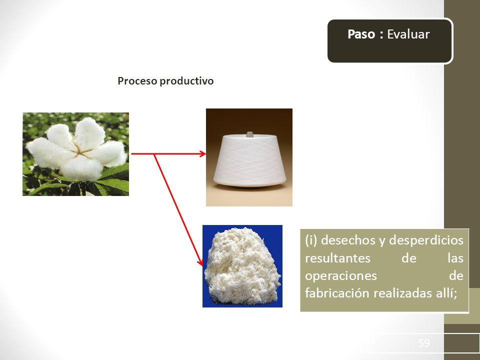 59 Paso : Evaluar Proceso productivo (i) desechos y desperdicios resultantes de las operaciones de fabricación realizadas allí;